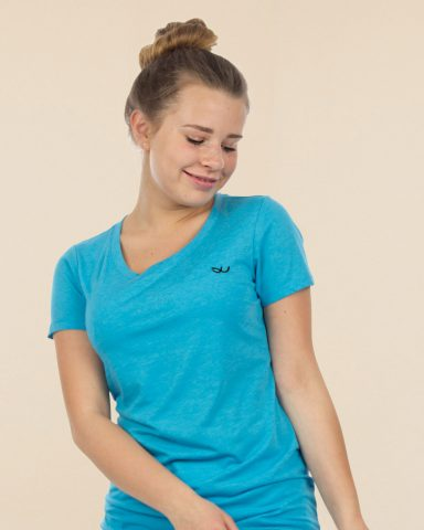 Whollyyou Waves T-Shirt in Aqua für Frauen