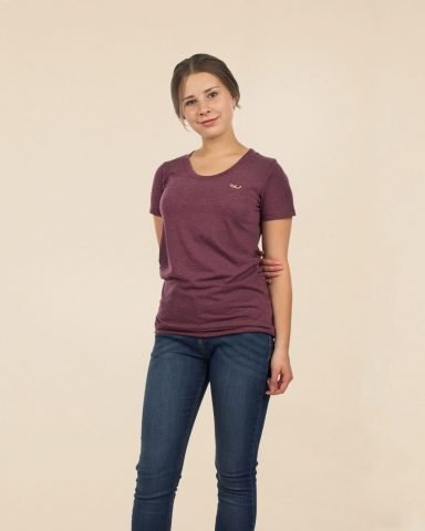 Whollyyou Waves T-Shirt in Maroon für Frauen