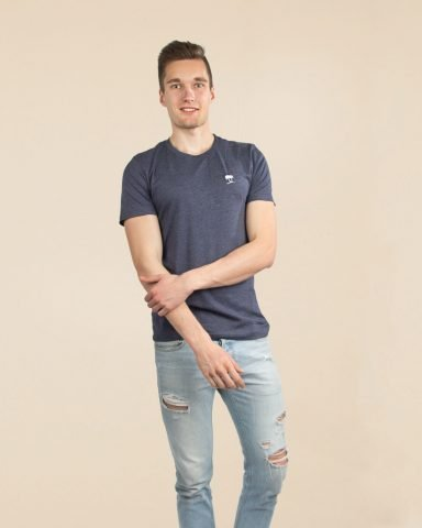 Whollyyou Palm Embroidered T-Shirt in Blau für Maenner