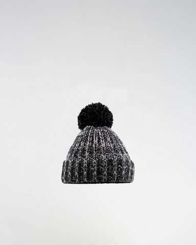 Whollyyou Bern Pom Pom Beanie in Black