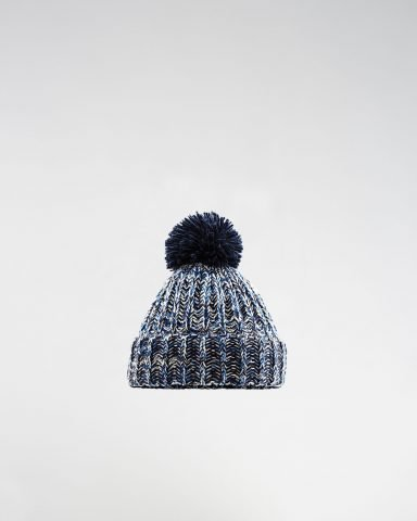 Whollyyou Bern Pom Pom Beanie in Navy